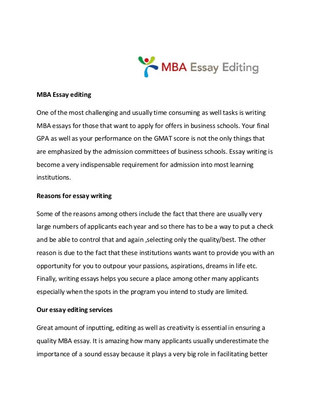Mba essay editing services