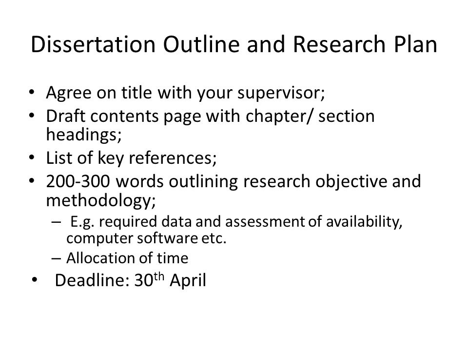Dissertation proposal outline uk