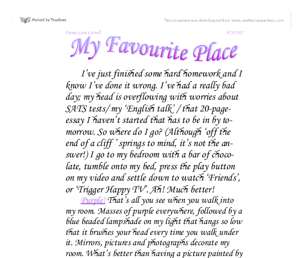 essay on my favourite city My favourite place is hyderabad - my favourite city essay introduction i like it for it's culture, location, good connectivity with other cities, somewhat moderate climate, the economy, infrastructure, education, different markets and lots of other things it's a city where you find all the useful things in.