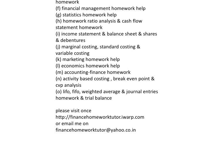finance homework essay Finance homework solution we at ehomeworksolutioncom provide best essay writing project help online ehomework solution.
