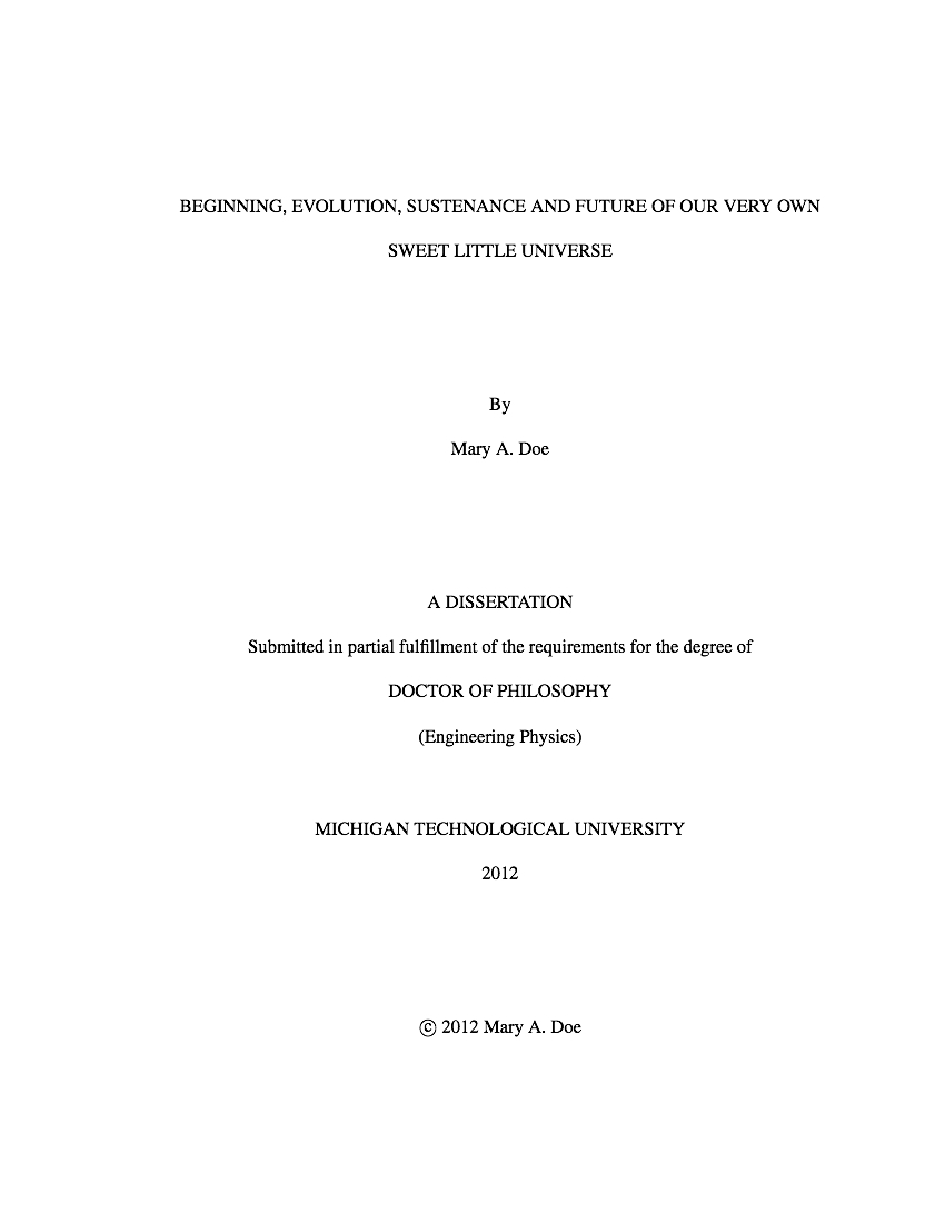 dissertation title page example
