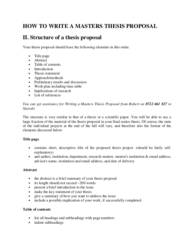 mba project proposal example